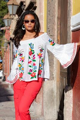 Colorful Embroidered Off-the-Shoulder Top