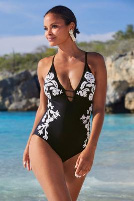 Embroidered One-Piece Swimsuit