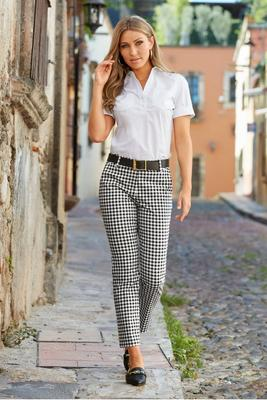 gingham cotton-sateen crop pant