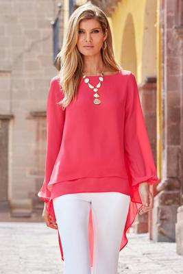 High-Low Long-Sleeve Blouse