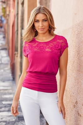 lace illusion neckline blouson top