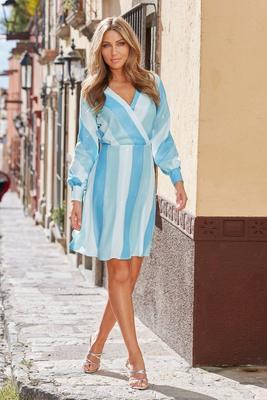 Long-Sleeve Sequin Stripe Surplice Dress