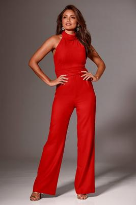 Mock-Neck Chiffon Jumpsuit