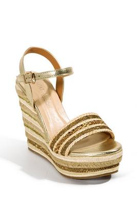 metallic detail espadrille wedge shoe