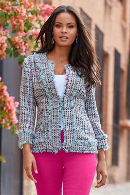 multicolored frayed-tweed jacket