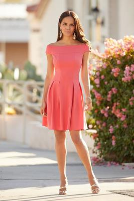 Off-the-Shoulder Fit-and-Flare Dress