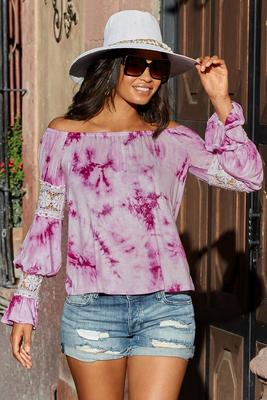 off-the-shoulder lace sleeve detail tie-dye top