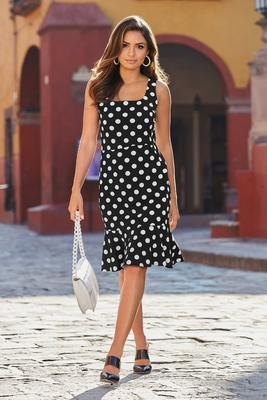Polka-Dot Ruffle-Hem Dress