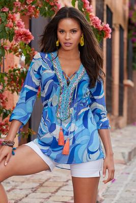 Printed Beaded Lace-Up Tunic Top