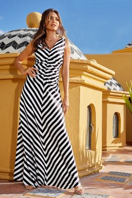 Ruched V-Neck Stripe Maxi Dress
