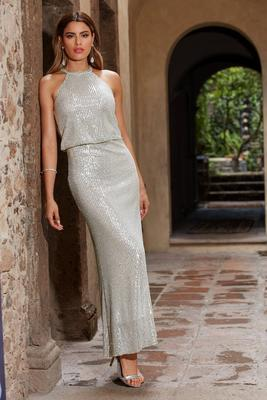 Sequin Coated Blouson Maxi Dress
