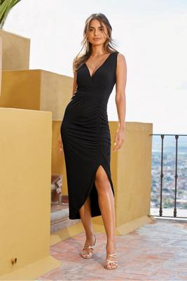 Sleeveless Ruched Slit Dress