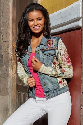 Sweater-Sleeve Embellished Denim Jacket