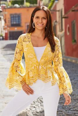 Two-Tone Lace Flare-Sleeve Jacket
