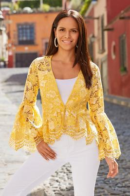 Display product reviews for Two-Tone Lace Flare-Sleeve Jacket