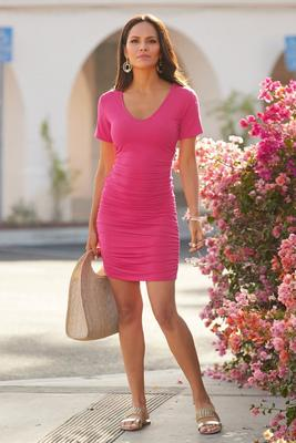 Display product reviews for V-Neck Ruched T-Shirt Dress