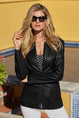 faux-leather collarless jacket