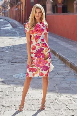 Vibrant Floral-Print Sheath Dress