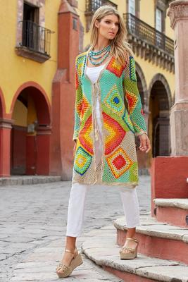 Bright Crochet Tassel-Tie Duster