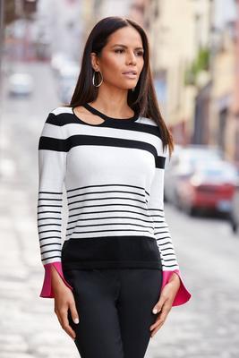 Cutout Stripe Pop-Color Sweater