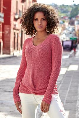 knot-front long-sleeve sweater