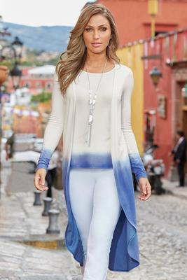 Ombre One-Piece Knit Top Duster