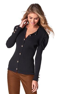 Display product reviews for Puff-Sleeve Cardigan