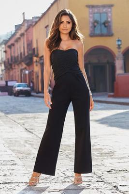 Strapless Mesh Ruched Jumpsuit