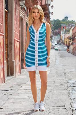 Stripe Lace-Up Tank Dress