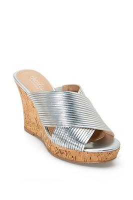 Crisscross Slip-On Cork Wedge Shoe