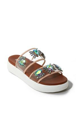 Iridescent Embellished Slide Sandal
