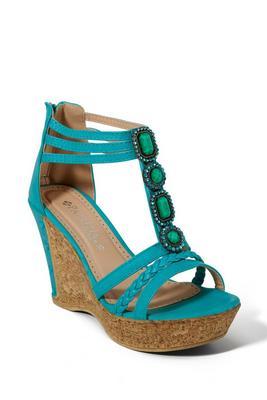 Jeweled Embellished Cork Wedge Shoe