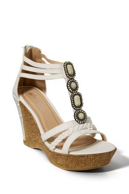 jeweled embellished cork wedge shoe