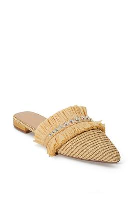 Woven Raffia Iridescent-Pearls Shoe