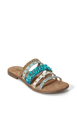 Turquoise Stone Beaded Slide Shoe