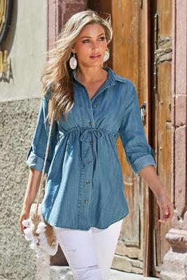 Display product reviews for Summer Essentials Tencel Tie-Front Tunic Top