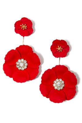 3d double floral earrings