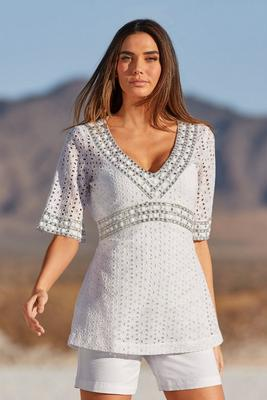 eyelet embellished v-neck shirt