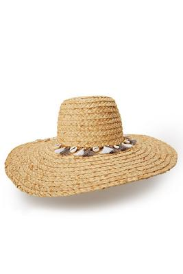 raffia braid shell and tassel hat