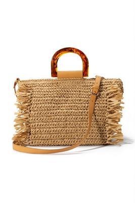 Straw Tortoiseshell Handle Bag