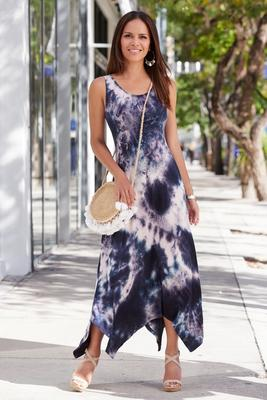 Summer Essentials French Terry Tie-Dye Handkerchief Maxi Dress