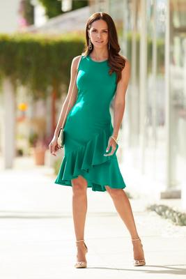 Beyond Travel™ Asymmetric Ruffle-Hem Dress