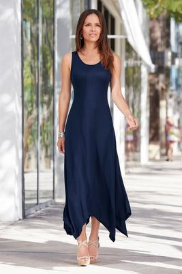Summer Essentials French Terry Handkerchief Maxi Dress
