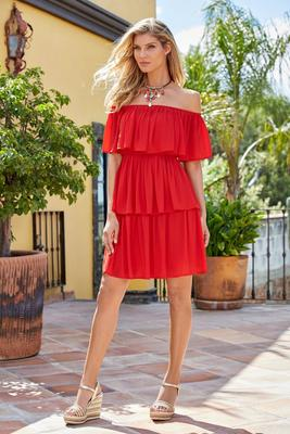 off-the-shoulder tiered ruffle dress