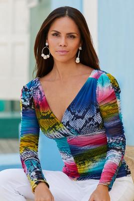 Bright Snake-Print Ruched Mesh Long-Sleeve Top