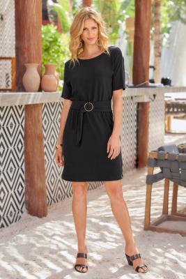 Beyond Travel™ Short Sleeve Belted Sheath Dress