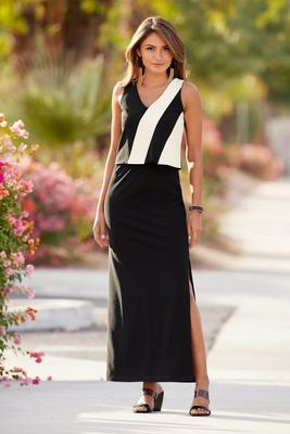 Beyond Travel™ Color-Block Popover Maxi Dress