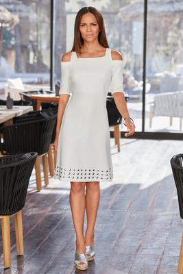 Beyond Travel™ Cold Shoulder Metallic Embellished Dress