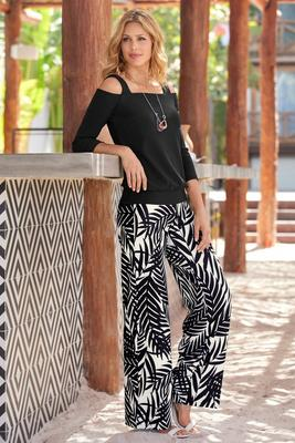 Beyond Travel™ Palm Print High-Rise Palazzo Pant