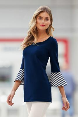 Beyond Travel™ Striped Flare-Sleeve Tunic Top